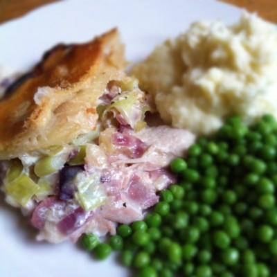 Turkey and ham pie with leek sauce
