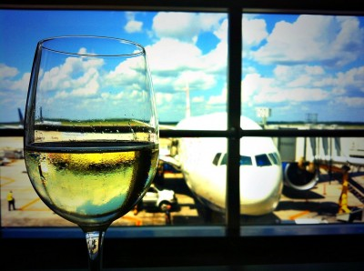 wine glass and airplane