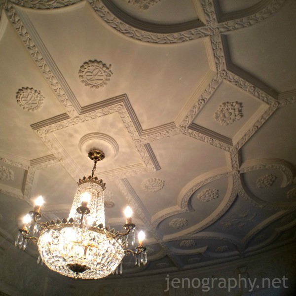 An ornate ceiling in one of the rooms