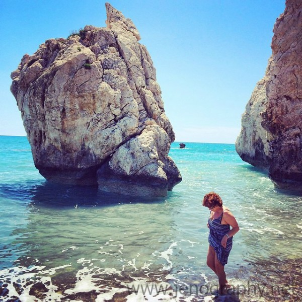 Wading in surf at Petra tou Romiou, Cyprus on Jenography