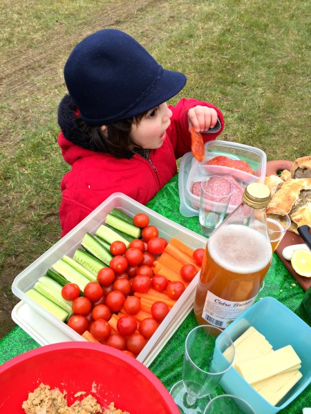 girl snacking at point-to-point