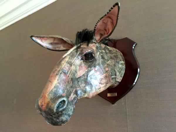 Papier Mache head at Cowley Manor Hotel