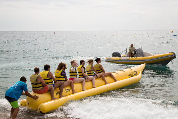 Banana boat on Calella beach
