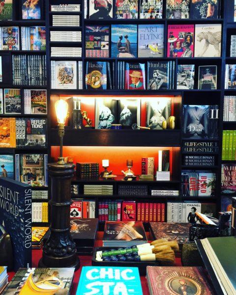 bookshelves at Maison Assouline