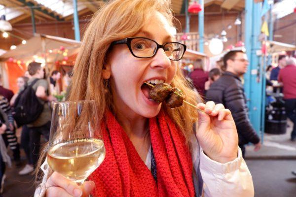 Jen eating meatballs in Berlin