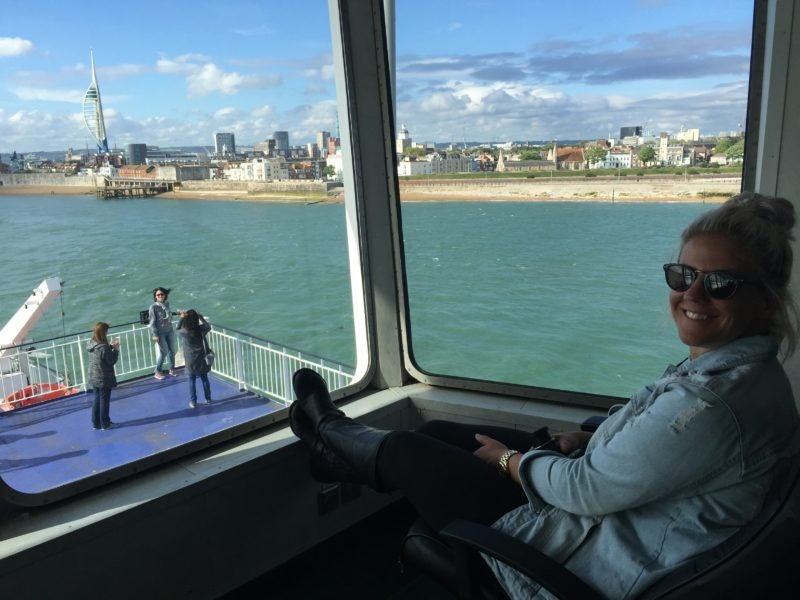 Vicky Flip Flop admires Portsmouth view