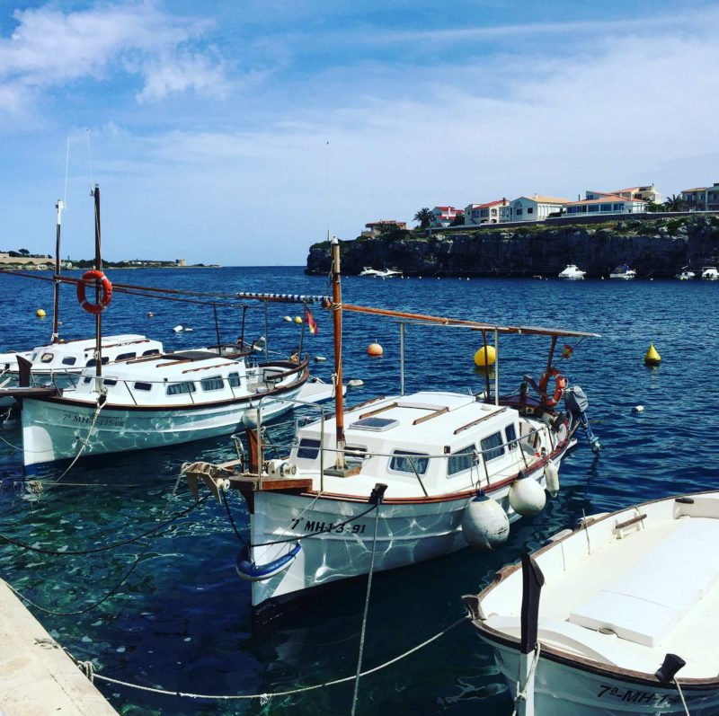 Moored boats in Menorca