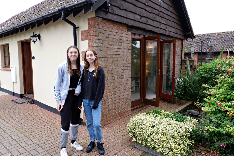girls outside Linney Cottage