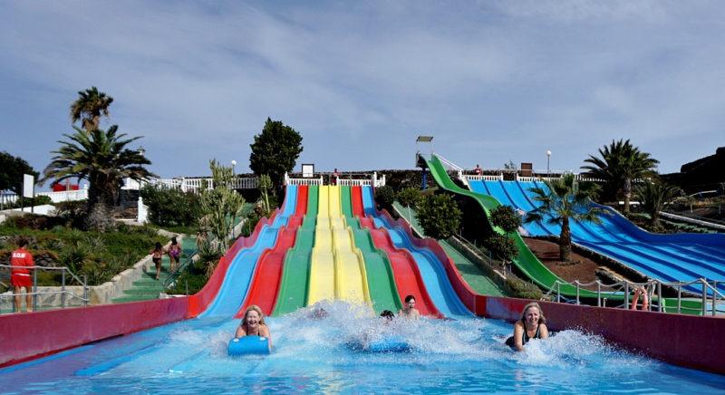 multi coloured slide at Aqua Park Lanzarote