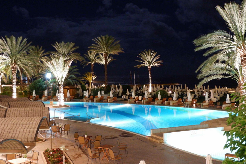 Athena Beach Hotel pool at night - Jenography