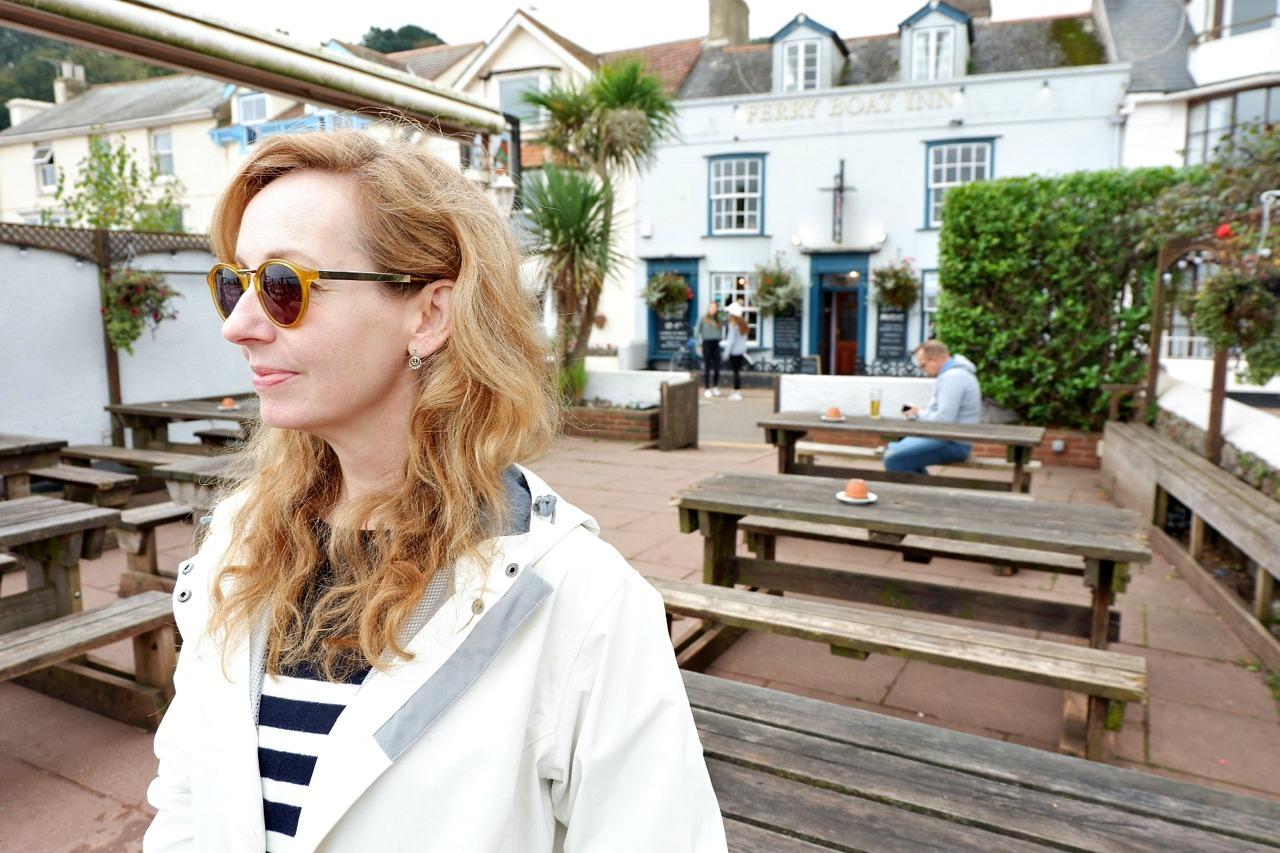 Jen in front of Ferry Boat Inn Shaldon